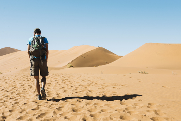 A backpacker in the Namib desert, Africa © Westend61 / Getty Images